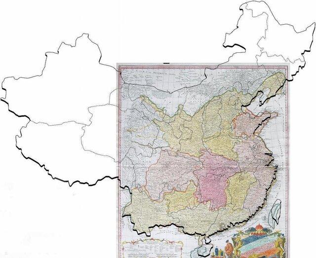 Карта Хазе (1735), наложенная на современную