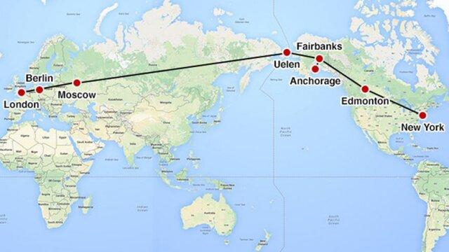 Транс-Евразийский пояс. Лондон - Нью-Йорк через территорию России. Альтернатива проекту Наполеона (Лондон - Калькутта - Пекин), в котором центром была Украина, а важнейшим решением - Керченский мост.