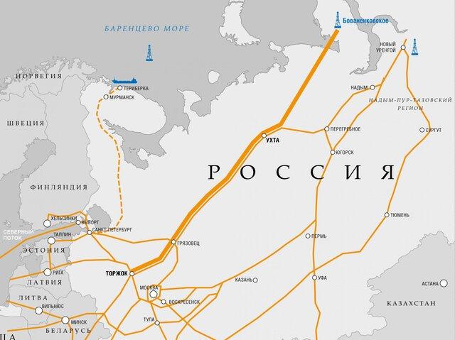 """газопровода """"Ухта-Торжок""""."""