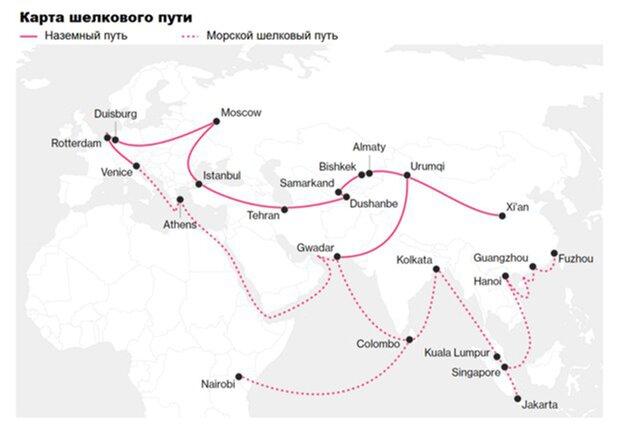 Карта Шелкового пути