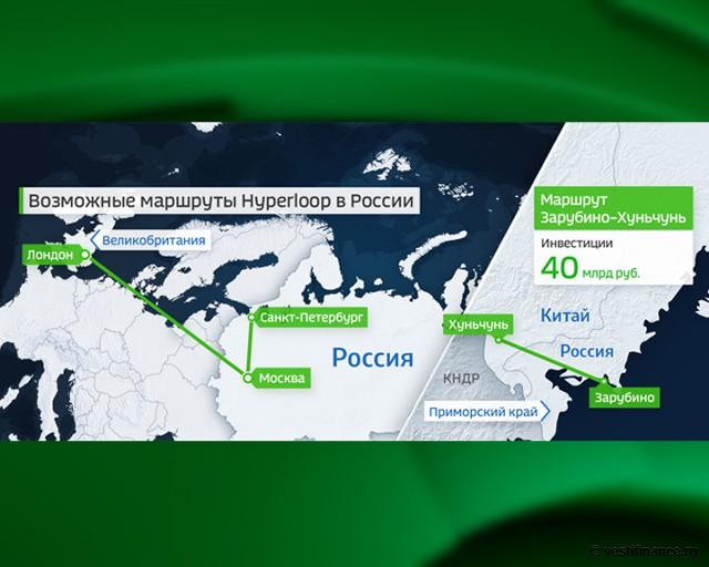 Возможные маршруты Hyperloop в России