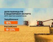Доля пшеницы России в общемировом экспорте в 2017 году