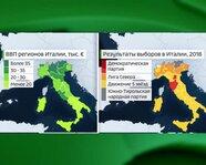 Результаты выборов в Италии в 2018 году. ВВП регионов Италии