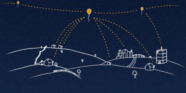"""Компания Google запустила в стратосферу 30 воздушных шаров, что стало первым шагом создания компанией  """"сети в небе """"..."""